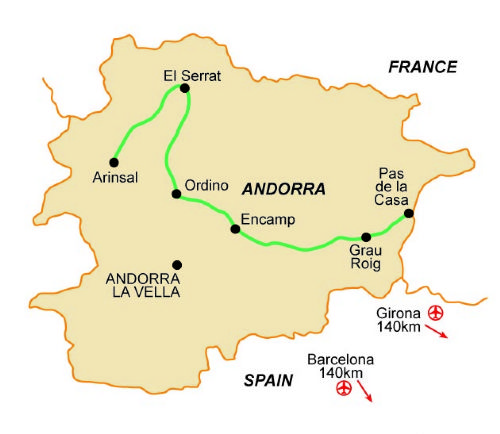 Map of our walking Holidays in Andorra