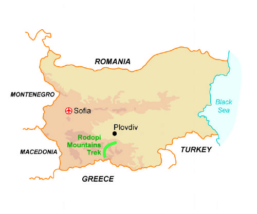 Map of our walking Holidays in Bulgaria