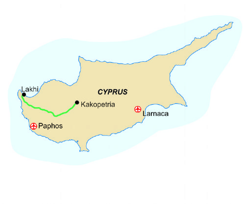 Map of our walking Holidays in Cyprus