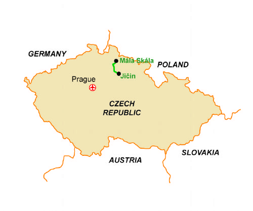 Map of our walking Holidays in Czech Republic