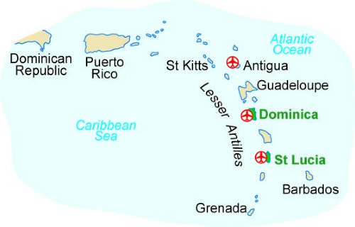 Map of our walking Holidays in St. Lucia