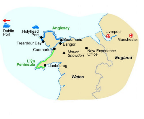 Map of our walking Holidays in Wales