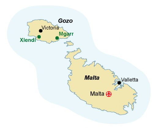 Map of our walking Holidays in Malta - Gozo