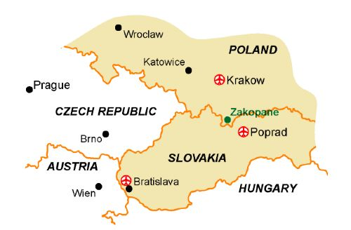 Map of our walking Holidays in Poland