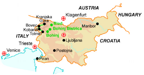 Map of our walking Holidays in Slovenia