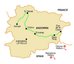 Map of our walking Holidays in Andorra - Click here to find out more about Andorra