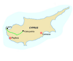 Map of our walking Holidays in Cyprus - Click here to find out more about Cyprus
