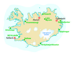 Map of our walking Holidays in Iceland - Click here to find out more about Iceland
