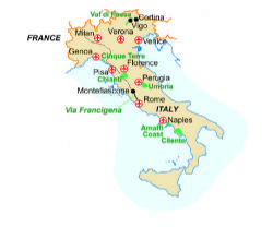 Map of our walking Holidays in Italy - Click here to find out more about Italy