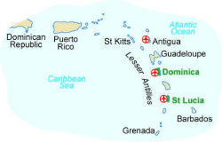 Map of our walking Holidays in Dominica - Click here to find out more about Dominica