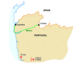 Find Walking Holidays In Portugal Mainland - Portugal map minho