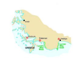 Map of our walking Holidays in Turkey - Click here to find out more about Turkey