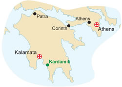 Map of our walking Holidays in Greece - Peloponnese - Click here to find out more about Greece - Peloponnese