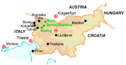 Map of our walking Holidays in Slovenia - Click here to find out more about Slovenia