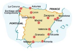 Map of our walking Holidays in Spain - Mainland - Click here to find out more about Spain - Mainland